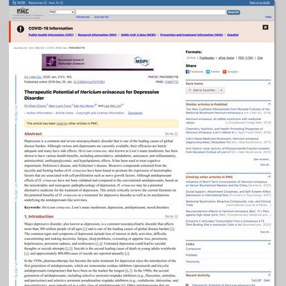 Therapeutic Potential of Hericium erinaceus for Depressive Disorder