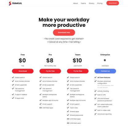 Pricing   Sidekick browser