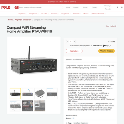 Compact WiFi Streaming Home Amplifier PTAUWIFI46