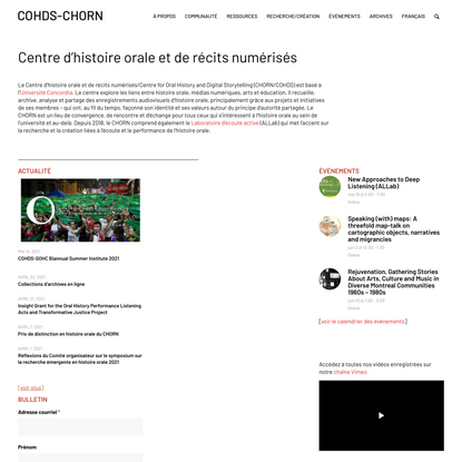 COHDS – Centre for Oral History and Digital Storytelling