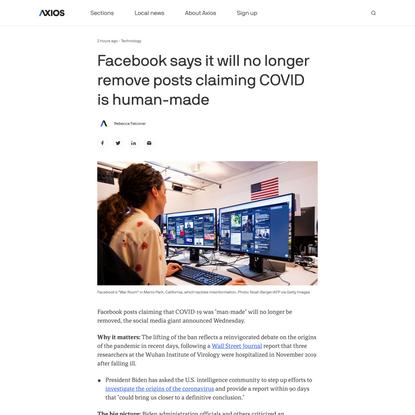"Facebook lifts ban on posts claiming COVID ""man-made"" - Axios"