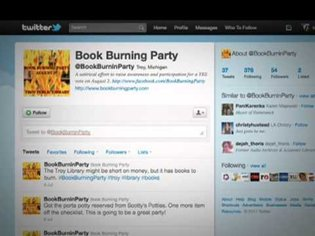 Troy Public Library 'Book burning party'