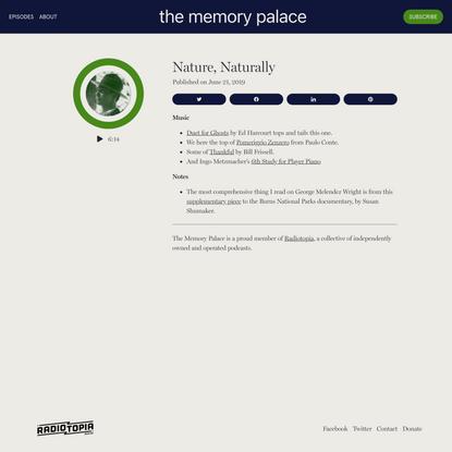 Nature, Naturally - the memory palace
