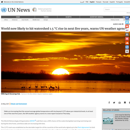 World now likely to hit watershed 1.5 °C rise in next five years, warns UN weather agency