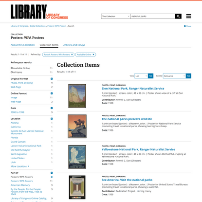 Search results for Posters: WPA Posters, National Parks, Available Online