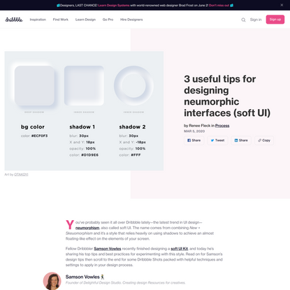 3 useful tips for designing neumorphic interfaces (soft UI)   Dribbble Design Blog