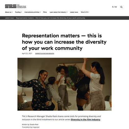 Representation matters – this is how you can increase the diversity of your work community - Suomen elokuvasäätiö