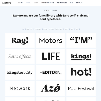 Explore our complete fonts library - MoTyFo - Mostardesign Type Foundry