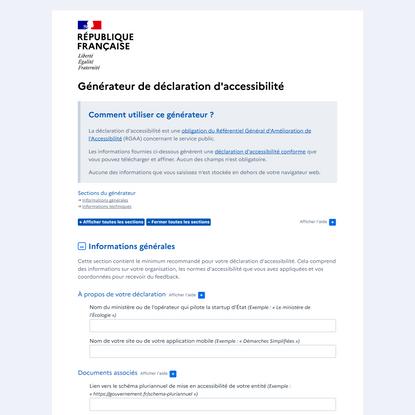 Générateur de déclaration d'accessibilité