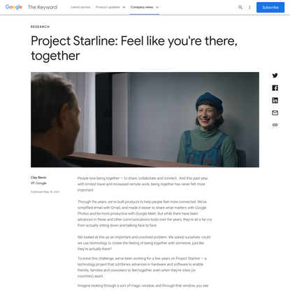 Project Starline: Feel like you're there, together