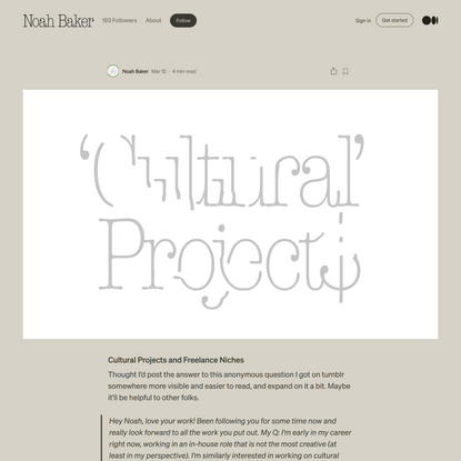 Cultural Projects and Freelance Niches