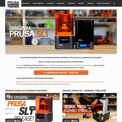 Original Prusa SL1 - Prusa3D - 3D Printers from Josef Průša