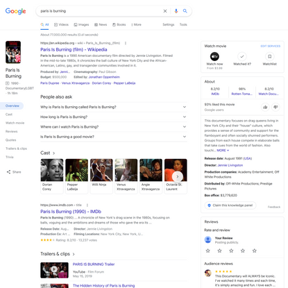 paris is burning - Google Search