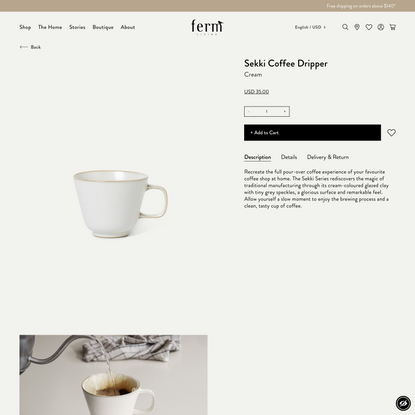 Take your coffee ritual to the next level with the Sekki coffee dripper in Cream - ferm LIVING