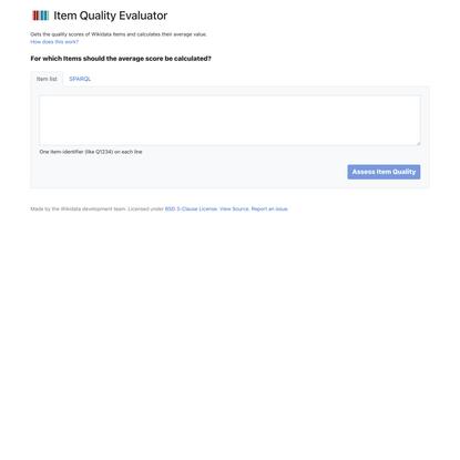 Item Quality Evaluator | Wikidata
