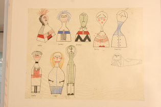 Original Wooden Doll sketches by Alexander Girard