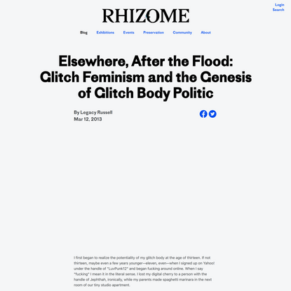 Elsewhere, After the Flood: Glitch Feminism and the Genesis of Glitch Body Politic