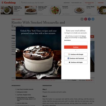 Risotto With Smoked Mozzarella and Escarole Recipe