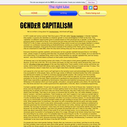 Gender Capitalism   Therightlube