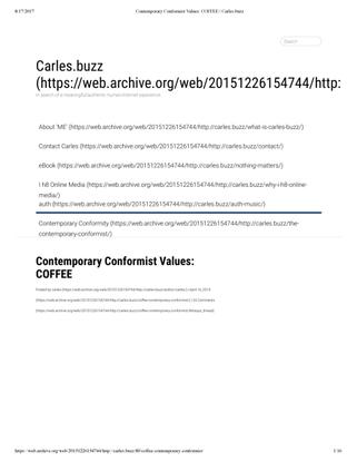 Contemporary Conformist Values - COFFEE