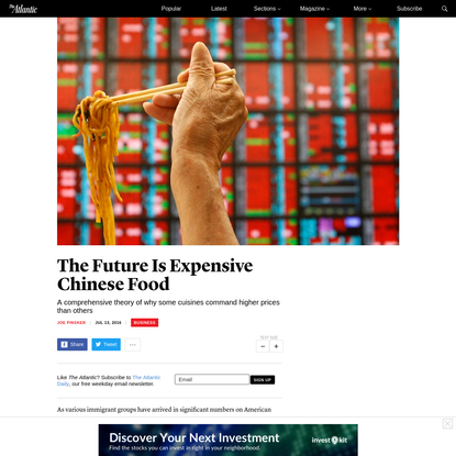 Why Some Cuisines Are More Expensive Than Others: A Theory