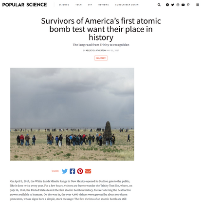Survivors of America's first atomic bomb test want their place in history