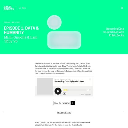 Episode 1: Data & Humanity