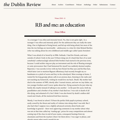 RB and me: an education - The Dublin Review