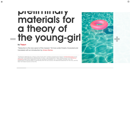 Triple Canopy – Preliminary Materials for a Theory of the Young-Girl by Tiqqun