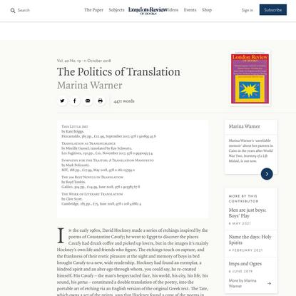 Marina Warner · The Politics of Translation: Translate this! · LRB 11 October 2018