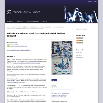 Ethical Approaches to Youth Data in Historical Web Archives (Dispatch) | Studies in Social Justice