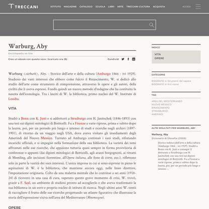Warburg, Aby nell'Enciclopedia Treccani