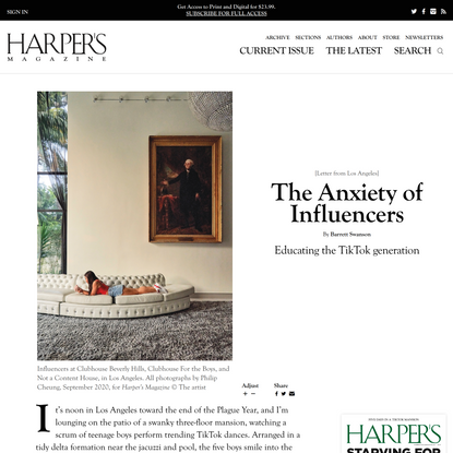 [Letter from Los Angeles] The Anxiety of Influencers, By Barrett Swanson | Harper's Magazine