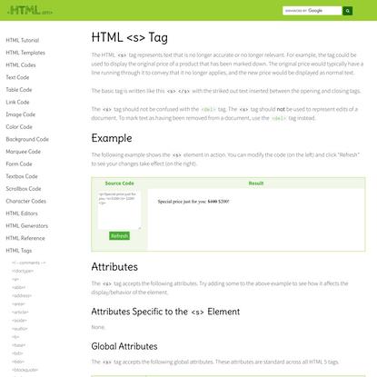 HTML <s> Tag