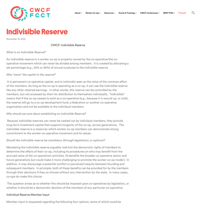 Indivisible Reserve - Canadian Worker Co-op Federation