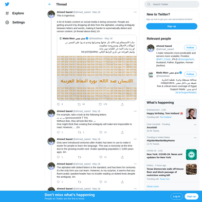"""Ahmed Saeed on Twitter: """"This is ingenious.A lot of Arabic content on social media is being censored. People are getting aro..."""