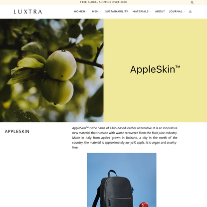 AppleSkin™   Vegan leather made from apples