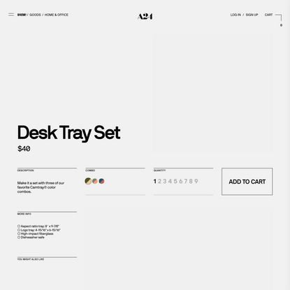 Desk Tray Set - Olive/Cream