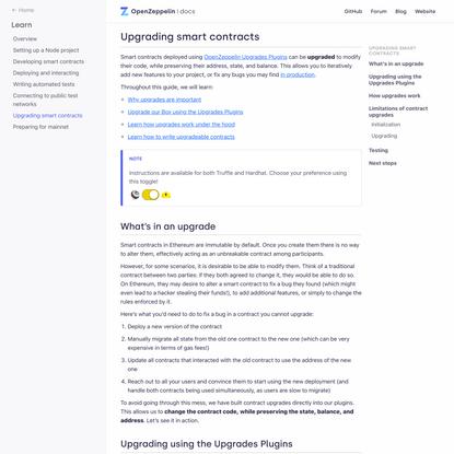 Upgrading smart contracts - OpenZeppelin Docs