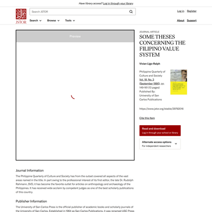 SOME THESES CONCERNING THE FILIPINO VALUE SYSTEM on JSTOR