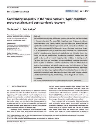"""Confronting inequality in the """"new normal"""": Hyper-capitalism, proto-socialism, and post-pandemic recovery - Tim Jackson, Peter A Victor"""