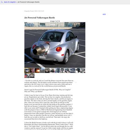 best of craigslist: Jet Powered Volkswagen Beetle