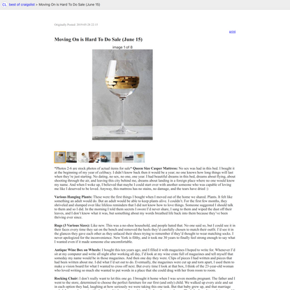 best of craigslist: Moving On is Hard To Do Sale (June 15)
