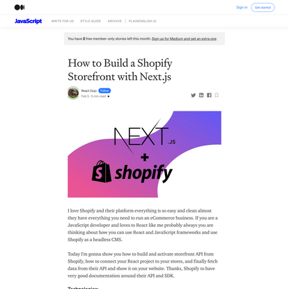 How to Build a Shopify Storefront with Next.js