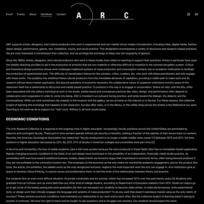 Manifesto — Arts Research Collective - Home