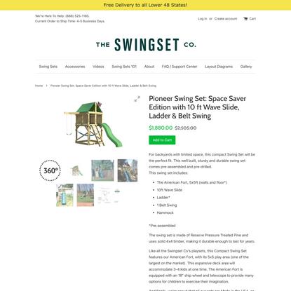 Pioneer Swing Set: Space Saver Edition with 10 ft Wave Slide, Ladder & Belt Swing