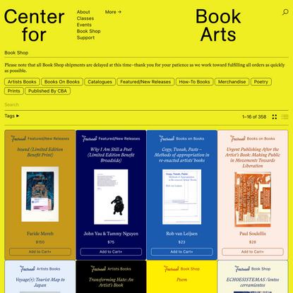 Book Shop - Center for Book Arts