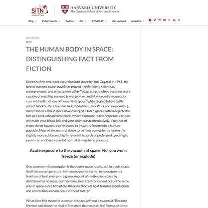 The human body in space: Distinguishing fact from fiction - Science in the News