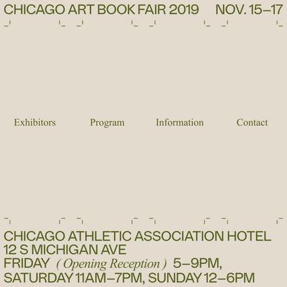 Chicago Art Book Fair 2019 — Home