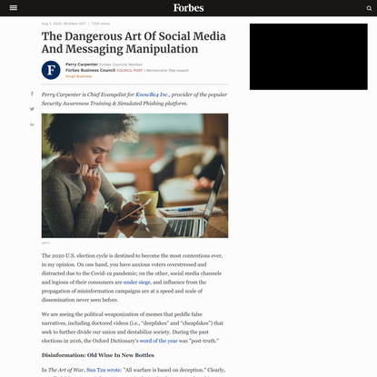 Council Post: The Dangerous Art Of Social Media And Messaging Manipulation